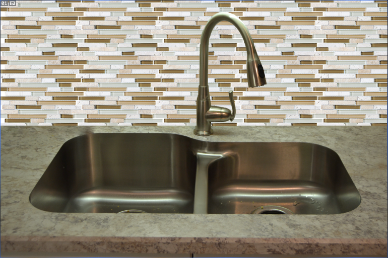 Laminate Countertop  With Under Mount Stainless Steel Sink & Glass Backsplash